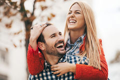 Couple enjoying outside Stock Photo