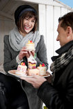 Couple Enjoying Pastry Royalty Free Stock Photo