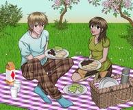 Couple Enjoying Picnic. Anime style couple enjoying picnic in nature Royalty Free Stock Image