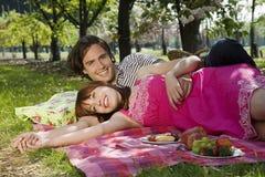Couple Enjoying Picnic In Park Royalty Free Stock Image
