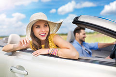 Couple enjoying a road trip together Royalty Free Stock Image