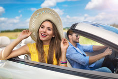 Couple enjoying a road trip together Royalty Free Stock Images