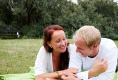 Couple enjoying romantic picnic Stock Image