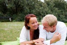 Couple enjoying romantic picnic Stock Image