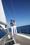 Couple enjoying the sailing cruise Royalty Free Stock Photography