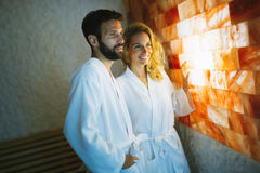 Couple enjoying salt spa treatment. Beautiful couple enjoying salt spa treatment Royalty Free Stock Image