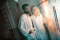 Couple enjoying salt spa treatment Royalty Free Stock Photo