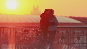 Couple enjoying scenic sunset in the city stock footage