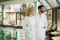 Couple enjoying spa wellness treatments Royalty Free Stock Photo