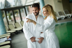 Couple enjoying spa wellness treatments Royalty Free Stock Photography