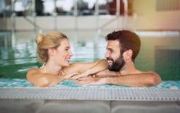 Couple enjoying spa wellness weekend Stock Images