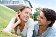Couple enjoying spring time Stock Images