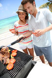 Couple enjoying summer barbecue Royalty Free Stock Images