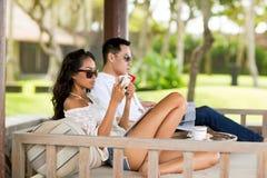 Couple enjoying in summer morning Royalty Free Stock Image