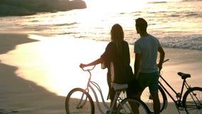Couple enjoying the sunset stock footage