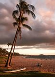 Couple Enjoying Sunset on Keawakapu Beach Maui Hawaii Stock Photography