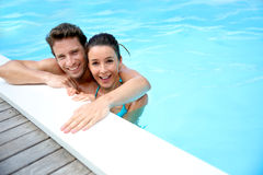 Couple enjoying swimming time Royalty Free Stock Photos