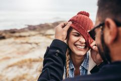 Couple Enjoying Themselves On A Winter Day Stock Photography