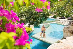 Couple enjoying vacation in tropical resort royalty free stock photo
