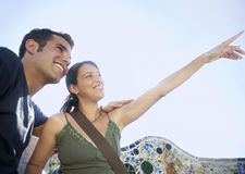 Couple Enjoying View At Barcelona Royalty Free Stock Images