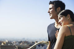 Couple Enjoying View At Barcelona Stock Images