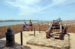 Couple Enjoying the View From Saint George Castle Lisbon t Royalty Free Stock Photos