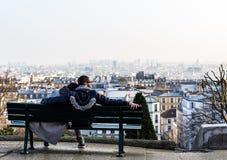 Couple enjoying view of town. Paris, France Royalty Free Stock Photos