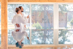 Couple enjoying view on wellness spa pool Stock Image