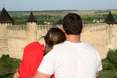 Couple enjoying a view Stock Images