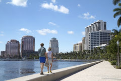 Couple enjoying the waterfront in West Palm Beach, Florida, USA Royalty Free Stock Photography