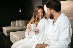 Couple enjoying wellness weekend. And spa stock images