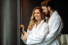 Couple enjoying wellness weekend. And spa royalty free stock image