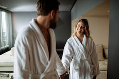 Couple enjoying wellness weekend. And spa royalty free stock images