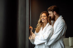 Couple enjoying wellness weekend. And spa royalty free stock photography