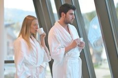 Couple enjoying wellness weekend and spa. Young Couple enjoying wellness weekend and spa royalty free stock images