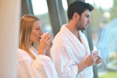 Couple enjoying wellness weekend and spa. Young Couple enjoying wellness weekend and spa royalty free stock photo