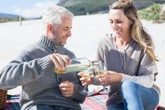 Couple enjoying white wine on picnic at the beach Stock Image