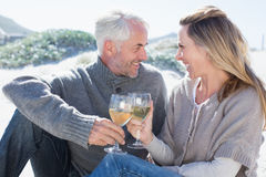 Couple enjoying white wine on picnic at the beach Royalty Free Stock Image
