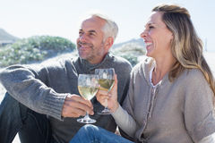 Couple enjoying white wine on picnic at the beach Royalty Free Stock Photography