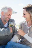 Couple enjoying white wine on picnic at the beach smiling at each other Royalty Free Stock Photos