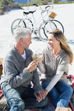 Couple enjoying white wine on picnic at the beach smiling at each other Stock Photo