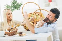 Couple Enjoys At Home stock photos