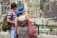 Couple enjoys the view from the viewpoint in Monaco. Stock Image
