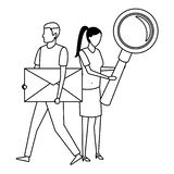 Couple with envelope. Magnifying glass black and white vector illustration graphic design royalty free illustration