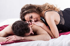 Couple during erotic moments Stock Photos