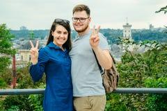 Couple with european city on background Stock Photos