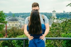 Couple with european city on background Royalty Free Stock Photos