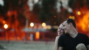 Couple at Evening Beach stock video