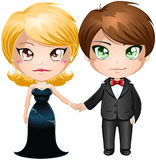 Couple In Evening Wear. A illustration of a man and woman dressed in elegant evening wear stock illustration