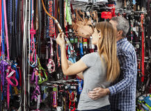 Couple Examining Leash At Pet Store Royalty Free Stock Photography